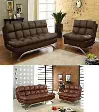 2 Pcs Saddle Brown Leatherette Futon Sofa Bed Chair Couch Living Room Furniture