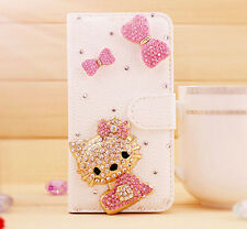 Pink Bow 3D Hello kitty Bling Wallet Leather Stand Case Cover For HTC Cellphone