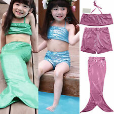 Kids Girl's Fin Swimmable Mermaid Tail With Monofin Swimwear Top + Tails + Short