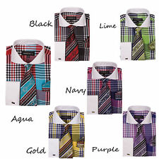 New Men's Dress Shirt Check Design French Cuff Spread Collar Tie & Hanky A626