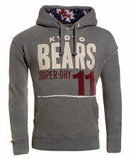 New Mens Superdry Navahood Hoodie Dark Marl Grey