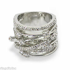 SALE Criss Cross Band Ring in Rhodium FREE SHIPPING