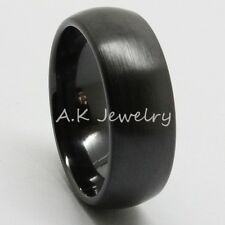 NEW 8mm Black Ceramic Brushed Dome Mens Wedding Band Ring Comfort Fit Size 7-13