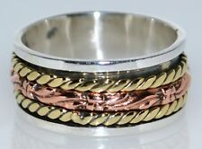 Sterling Silver Karma Ring Unique Wide 3 Tri colour 925 Band; Size L, 5½ to W 11