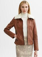 BANANA REPUBLIC WOMENS SHEARLING COLLAR LEATHER COAT JACKET $325.00 M