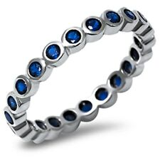 Blue Sapphire Eternity Stackable Band .925 Sterling Silver Ring Sizes 4-10