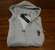 Polo Ralph Lauren men Grey Polo bear full zip fleece hoodie sweatshirt S, M or L