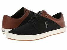 POLO RALPH LAUREN JERRED TRAINER. POLO BLACK & TAN LEATHER, SZ 8 9 OR 11 UK, NEW