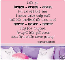 "26"" One Direction Live While We're Young Crazy Wall Decal Decor Sticker Art CUTE"
