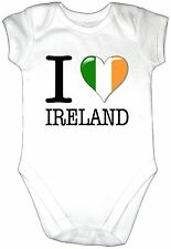 I LOVE IRELAND Baby Grow Gro Irish Clothes Heart Flag Bodysuit Gift Vest