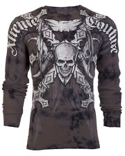 Xtreme Couture AFFLICTION Men THERMAL T-Shirt BATTLE-X Skull Biker UFC M-3XL $58