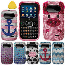 FOR ZTE Z432 Pink Anchor On Teal White HARD BLING Case Protector Cover + Tool
