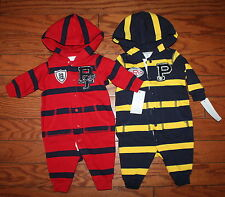 NWT Ralph Lauren Baby Boys Striped Fleece Hooded Coverall Baby 3m-12m