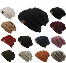 Women's Knit Slouchy Cable Beanie CC Oversized Cap Hat Unisex Slouch New