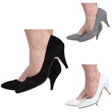 WOMENS LADIES LOW MID HIGH HEEL POINTED TOE PUMPS SMART WORK COURT SHOES