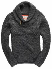 New Mens Superdry Orchard Henley Jumper Grey Nep