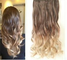 """22"""" Full Head Dip Dye Clip in Hair Extensions Wavy Curly Straight Ombre 6 Pcs"""
