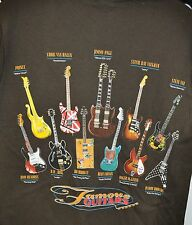 NWT Famous Guitars Dark Brown T Shirt Guitar Player Shirt Rock and Roll Musician