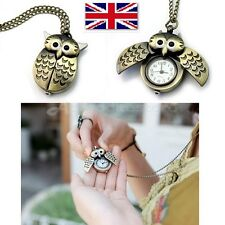 Medium Vintage Antique Bronze Owl Pocket Watch Necklace Kid Gift Women Quartz