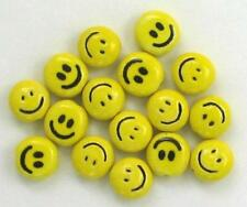 """Hand Painted Ceramic Beads, 1/2"""" Smiley Face Design, New"""