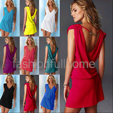 Solid V-Neck Sleeveless Mini Beach Dress Bikini Swimwear Cover Up Summer Skirt