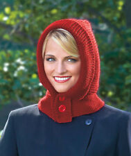 Womens Warm Hooded Neckwarmer Winter Hat Scarf Hood Wrap Red Black Christmas