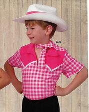 NWT Dance Costume Western Cowboy Shirt Hot Pink Gingham Clogging Short Sleve top