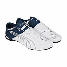 Puma Mens Future Cat M1 Big Material Story White Blue Lace Up Sneakers Shoes