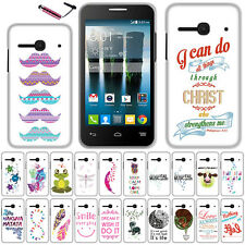 FOR ALCATEL ONETOUCH EVOLVE 2 4037T Bird's feather HARD Case Protector Cover+Pen