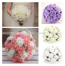 50Pcs Foam Rose Artificial Flower Craft Wedding Bouquet Party DIY 5 Colors