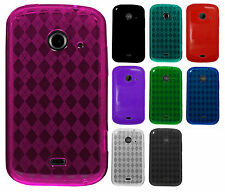 For ZTE Whirl 2 Z667 TPU CANDY Gel Flexi Skin Case Phone Cover Plaid Accessory