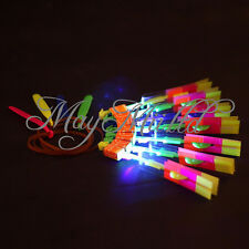 LED Light Flying Sling Helicopter Rocket Arrow Frisbee Flyer Boomerang Toys CA