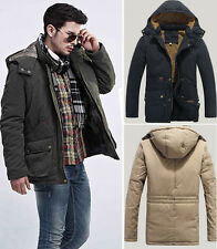 Men's Warm Winter Thick Parka Trench Coat Jacket Casual Hooded Overcoat