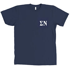 Sigma Nu AMERICAN APPAREL POCKET Navy T Shirt Fraternity Tee NEW
