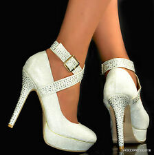 LADIES NEW SEXY WHITE SHIMMER SILVER CRYSTALS ANKLE STRAP HIGH HEEL COURT SHOES