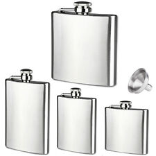 6 8 10 18 oz Liquor Stainless Steel Pocket Screw Cap Hip Flask with Funnel