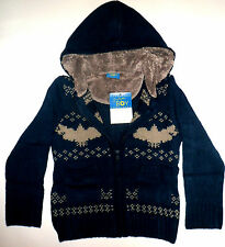 Boys Winter Cardigan Zip lined hooded fairisle chunky navy Grey age 2 3 4