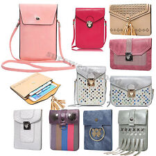 PU Leather Universal Cell Phone Shoulder Wallet Bag Pouch Case With Neck Strap