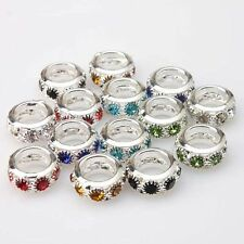 New Wholesale Assorted Colorful Rhinestone Silvery Oblate Pendants Beads 12mm