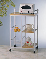 Rolling White Microwave Kitchen Cart with Shelves