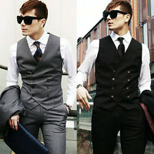 Mens Casual Double breasted Slim Fit Suit Tuxedo Dress Vest Waistcoat Top