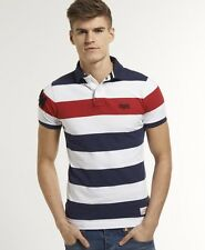 New Mens Superdry Hoopstripe Hit Polo Red Stripe Mix