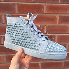 Authentic Christian Louboutin Louis Flat Spikes Suede Sauge Green Mint Sneakers