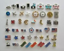 Floating Charms - TRAVEL, PATRIOTIC, MILITARY, FLAGS - for glass lockets!