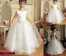 2015 White Tulle Ball Gown Flower Girl Formal Party Dance Dresses age 5-11 Years