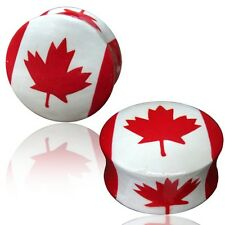 PAIR WOODEN PAINTED PLUGS RED WHITE CANADIAN CANADA FLAG MAPLE GAUGES PLUGS EAR