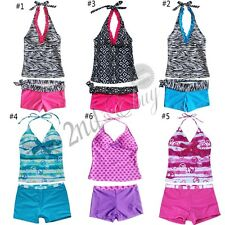 Girls Halter Swimwear Swimsuit Swimming Costume Bathing Suit Tankini Bikini Kids