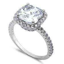 3CT Cushion Cut Fine Cz .925 Sterling Silver Ring Sizes 5-10