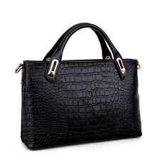 Design Womens OL Croco Faux Leather Tote Handbag Shoulder Crossbody Evening Bag