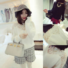 Fashion Women's Vintage Long Sleeve Casual Tops Lace Shirt Blouse Sweater